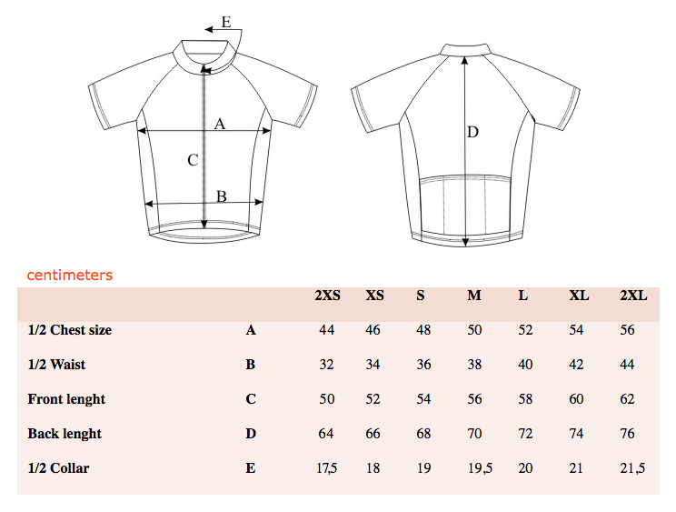 Bello Cycling Jersey Sizing Guide